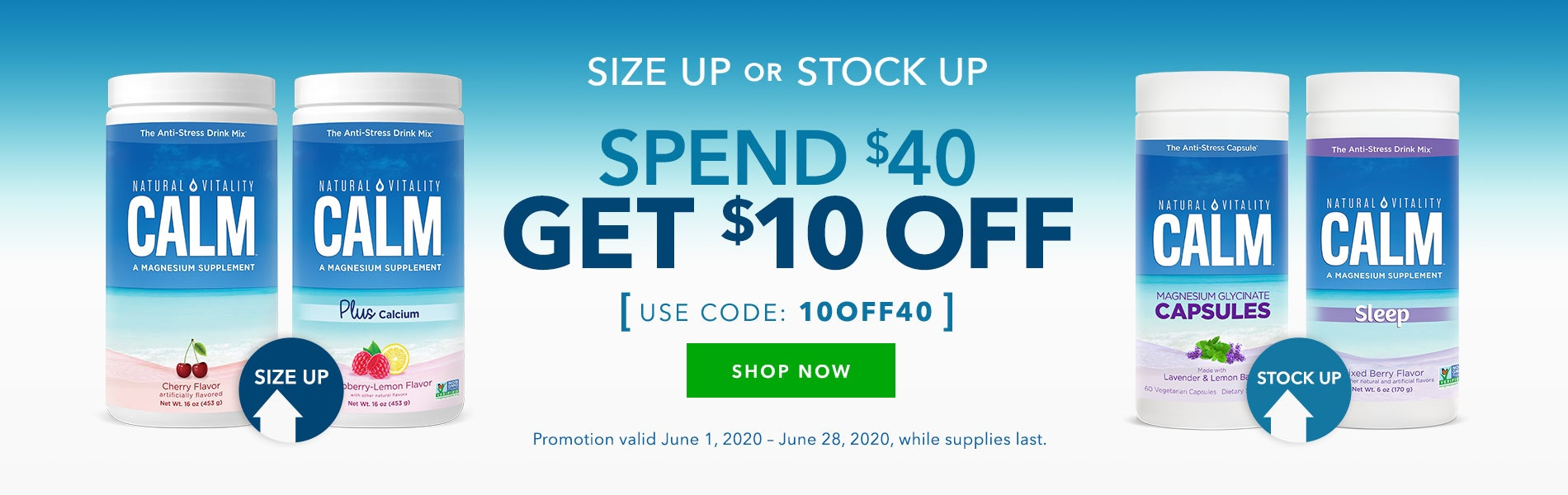 Size Up or Stock Up! Spend $40 Get $10 OFF. Use Code: 10OFF40. Shop Now!